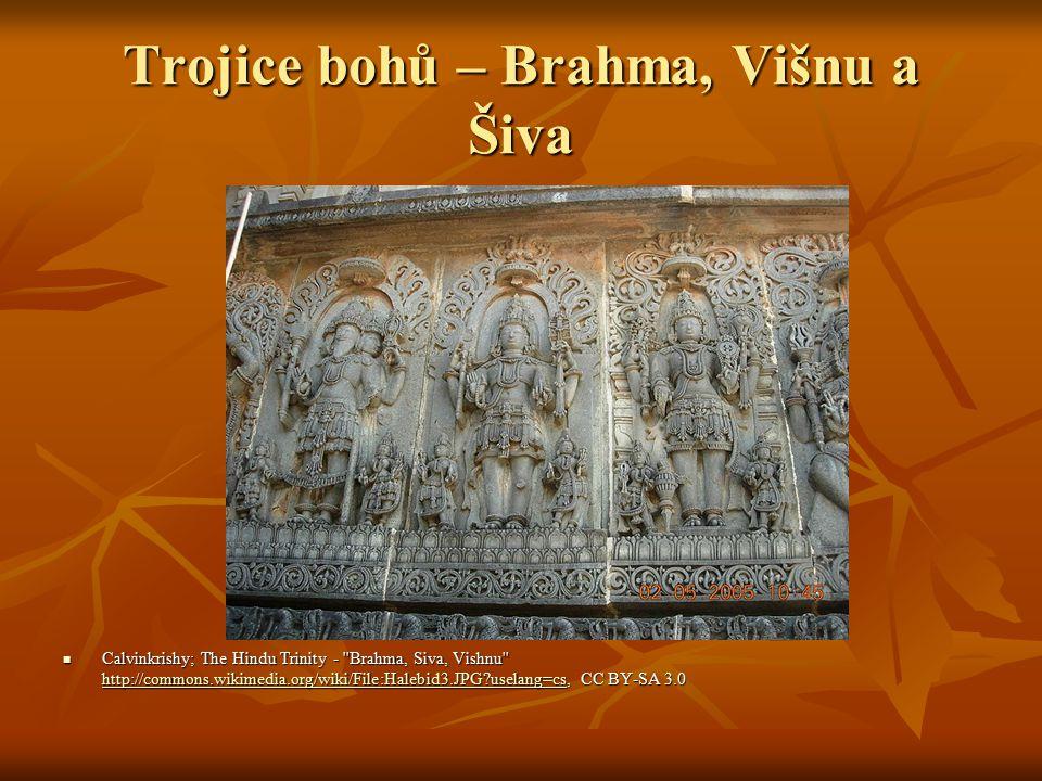 Trojice bohů – Brahma, Višnu a Šiva Calvinkrishy; The Hindu Trinity - Brahma, Siva, Vishnu http://commons.wikimedia.org/wiki/File:Halebid3.JPG uselang=cs, CC BY-SA 3.0 Calvinkrishy; The Hindu Trinity - Brahma, Siva, Vishnu http://commons.wikimedia.org/wiki/File:Halebid3.JPG uselang=cs, CC BY-SA 3.0 http://commons.wikimedia.org/wiki/File:Halebid3.JPG uselang=cs