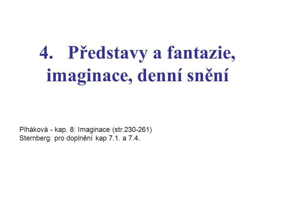 4. Představy a fantazie, imaginace, denní snění Plháková - kap. 8: Imaginace (str.230-261) Sternberg: pro doplnění kap 7.1. a 7.4.