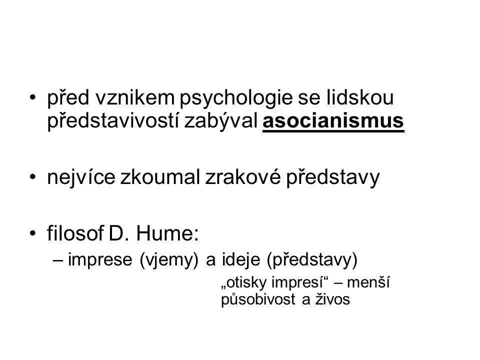 před vznikem psychologie se lidskou představivostí zabýval asocianismus nejvíce zkoumal zrakové představy filosof D. Hume: –imprese (vjemy) a ideje (p