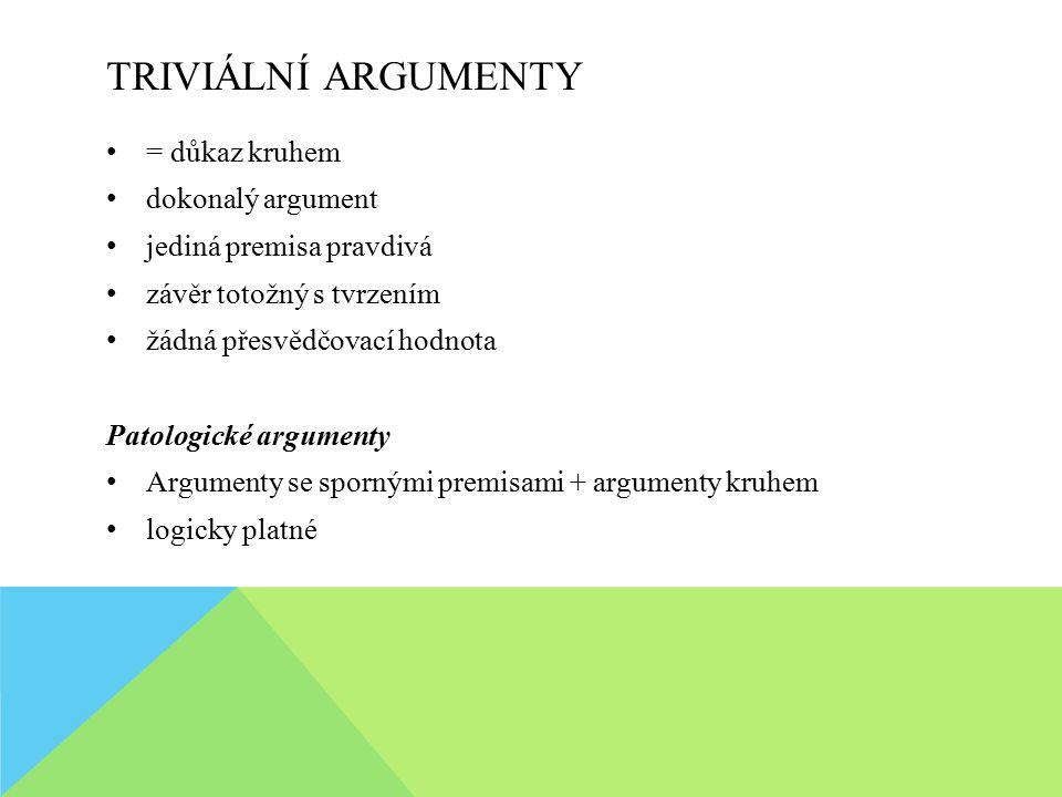 TRIVIÁLNÍ ARGUMENTY = důkaz kruhem dokonalý argument jediná premisa pravdivá závěr totožný s tvrzením žádná přesvědčovací hodnota Patologické argument