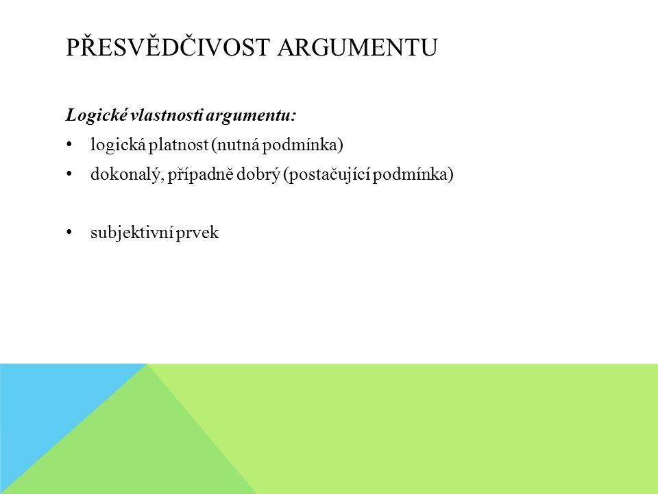 PŘESVĚDČIVOST ARGUMENTU Logické vlastnosti argumentu: logická platnost (nutná podmínka) dokonalý, případně dobrý (postačující podmínka) subjektivní pr