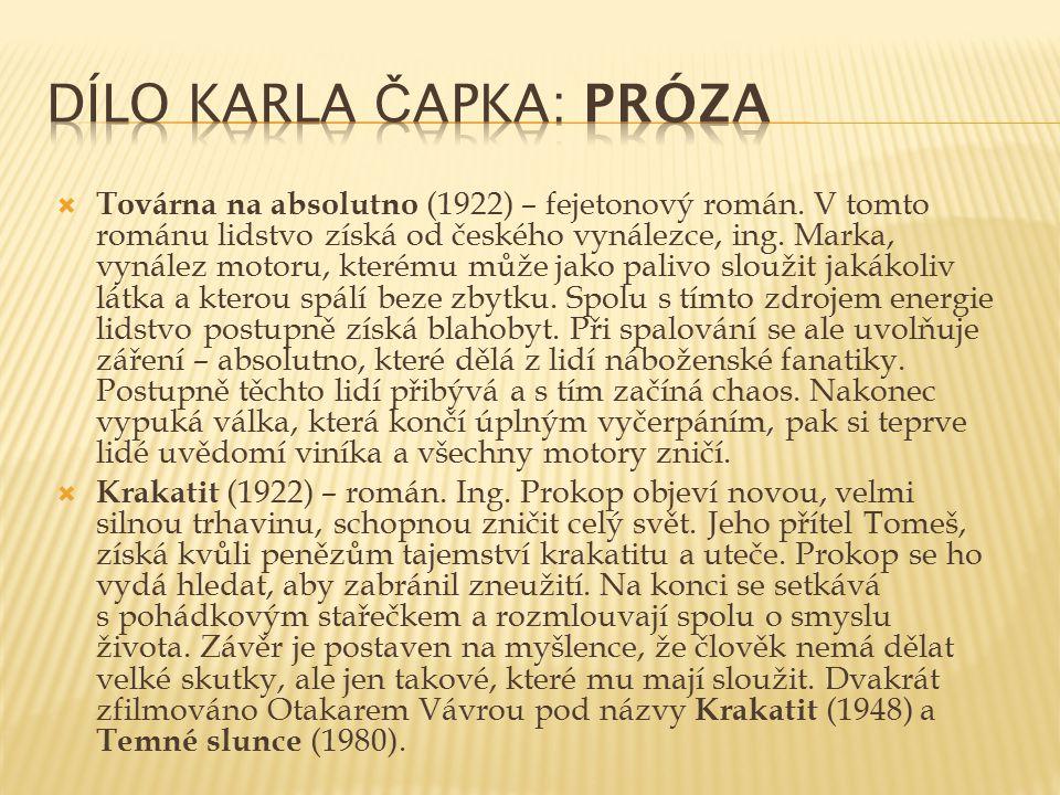  Továrna na absolutno (1922) – fejetonový román. V tomto románu lidstvo získá od českého vynálezce, ing. Marka, vynález motoru, kterému může jako pal