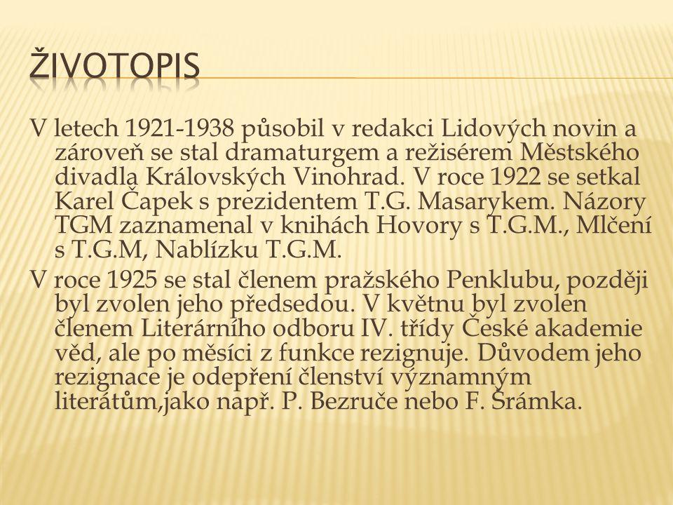 V letech 1921-1938 působil v redakci Lidových novin a zároveň se stal dramaturgem a režisérem Městského divadla Královských Vinohrad. V roce 1922 se s
