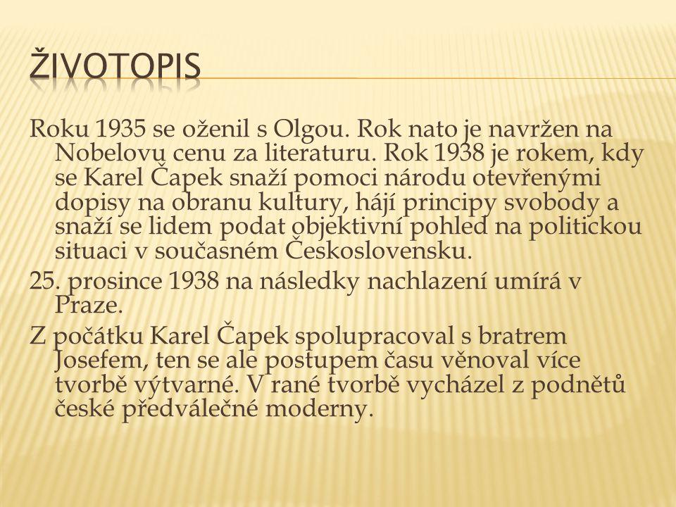 Roku 1935 se oženil s Olgou. Rok nato je navržen na Nobelovu cenu za literaturu. Rok 1938 je rokem, kdy se Karel Čapek snaží pomoci národu otevřenými
