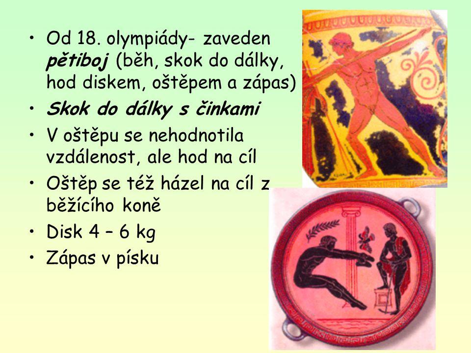 Od 18. olympiády- zaveden pětiboj (běh, skok do dálky, hod diskem, oštěpem a zápas) Skok do dálky s činkami V oštěpu se nehodnotila vzdálenost, ale ho