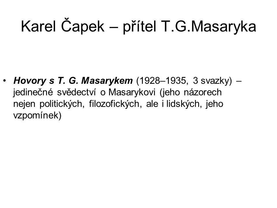 Karel Čapek – přítel T.G.Masaryka Hovory s T. G.