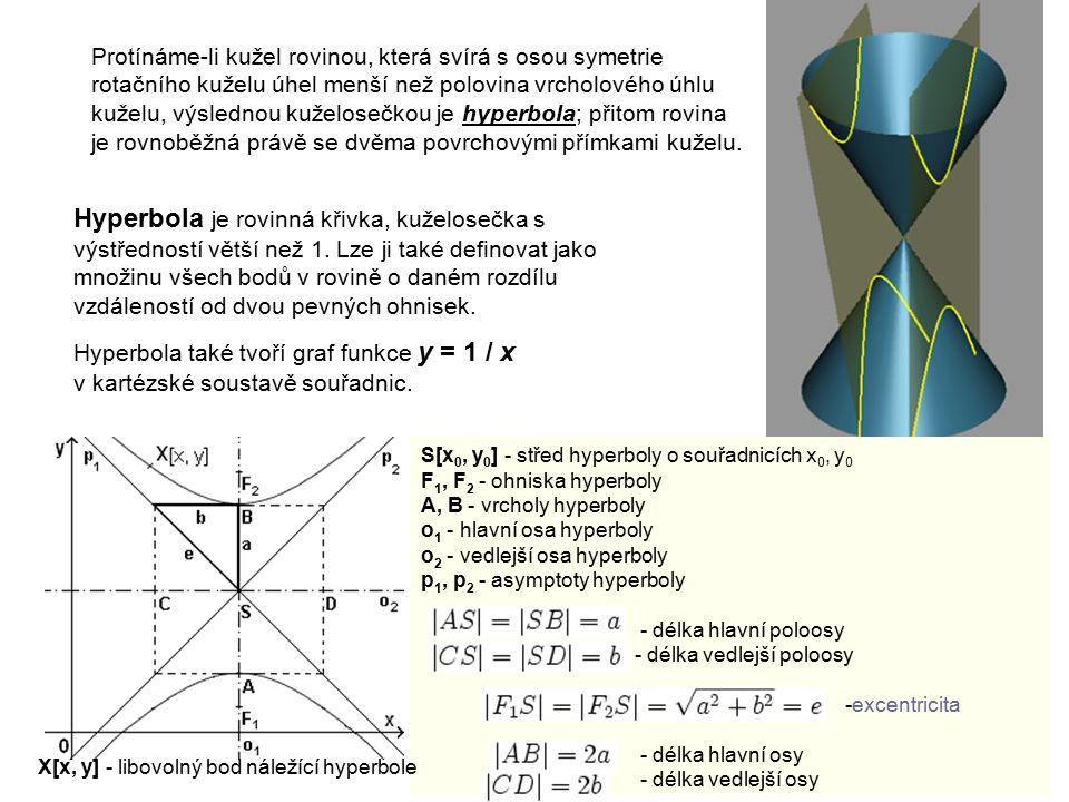 Hyperbola je rovinná křivka, kuželosečka s výstředností větší než 1. Lze ji také definovat jako množinu všech bodů v rovině o daném rozdílu vzdálenost