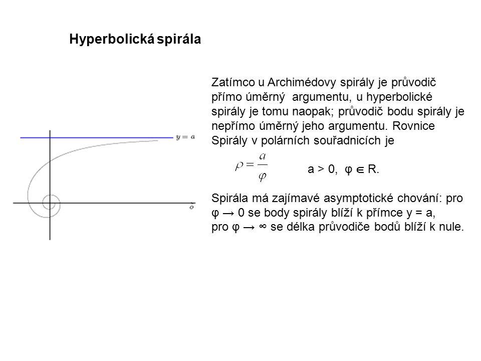 Zatímco u Archimédovy spirály je průvodič přímo úměrný argumentu, u hyperbolické spirály je tomu naopak; průvodič bodu spirály je nepřímo úměrný jeho argumentu.