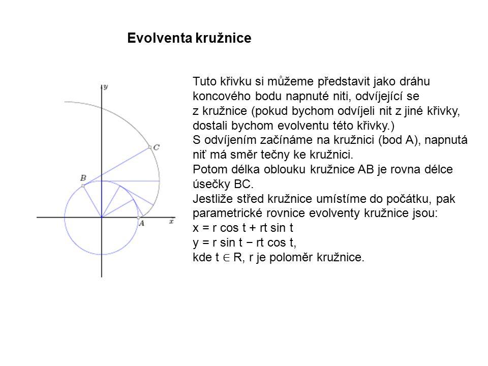 Tuto křivku si můžeme představit jako dráhu koncového bodu napnuté niti, odvíjející se z kružnice (pokud bychom odvíjeli nit z jiné křivky, dostali bychom evolventu této křivky.) S odvíjením začínáme na kružnici (bod A), napnutá niť má směr tečny ke kružnici.