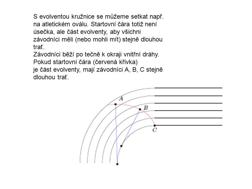 S evolventou kružnice se můžeme setkat např. na atletickém oválu. Startovní čára totiž není úsečka, ale část evolventy, aby všichni závodníci měli (ne