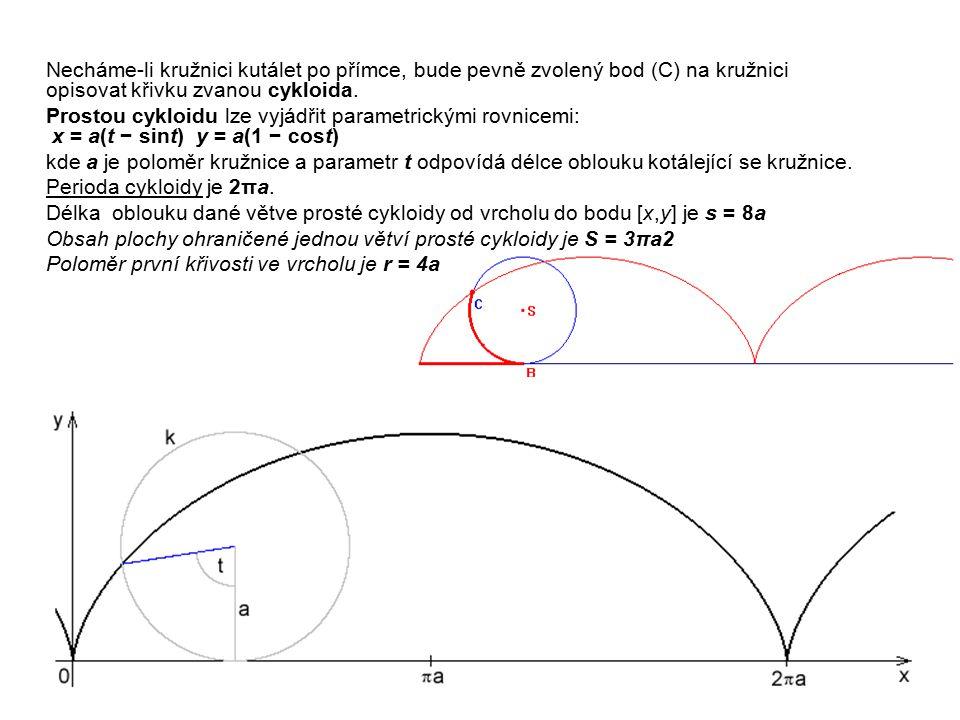 Necháme-li kružnici kutálet po přímce, bude pevně zvolený bod (C) na kružnici opisovat křivku zvanou cykloida. Prostou cykloidu lze vyjádřit parametri