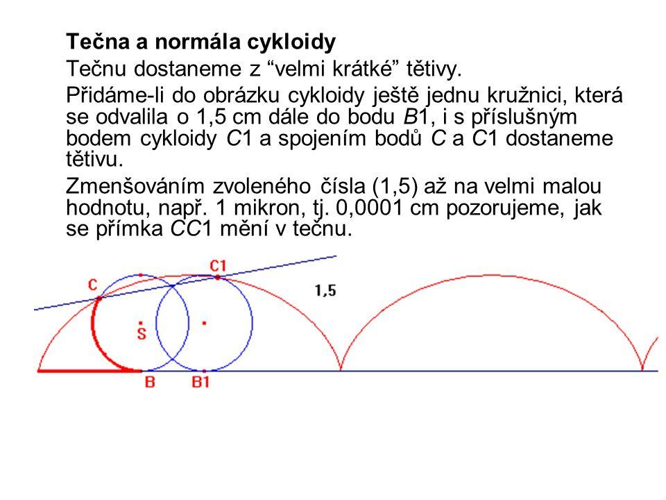 Tečna a normála cykloidy Tečnu dostaneme z velmi krátké tětivy.