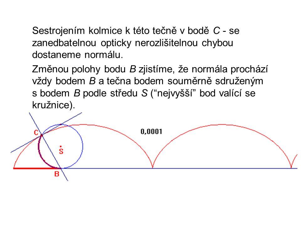 Sestrojením kolmice k této tečně v bodě C - se zanedbatelnou opticky nerozlišitelnou chybou dostaneme normálu. Změnou polohy bodu B zjistíme, že normá