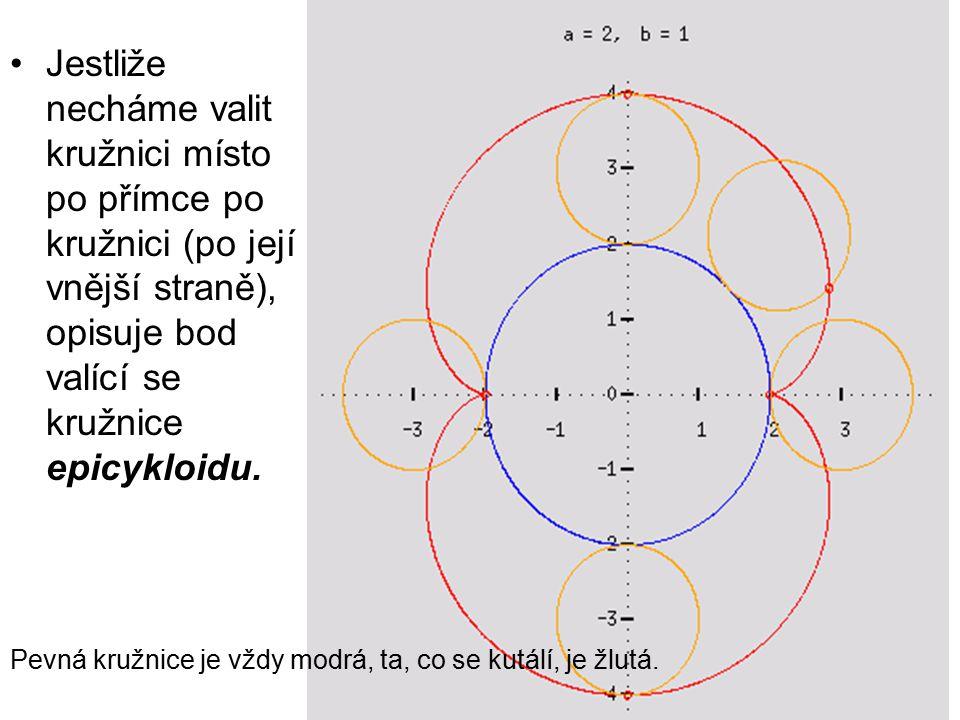 Jestliže necháme valit kružnici místo po přímce po kružnici (po její vnější straně), opisuje bod valící se kružnice epicykloidu. Pevná kružnice je vžd