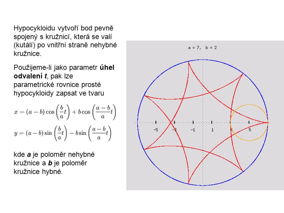 Hypocykloidu vytvoří bod pevně spojený s kružnicí, která se valí (kutálí) po vnitřní straně nehybné kružnice. Použijeme-li jako parametr úhel odvalení