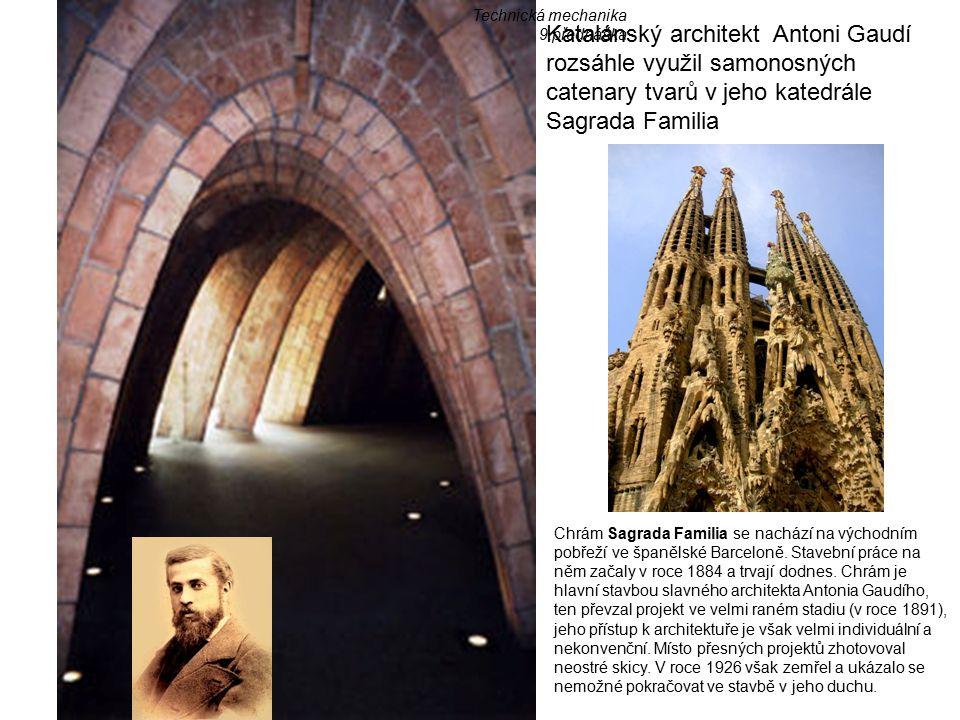 Katalánský architekt Antoni Gaudí rozsáhle využil samonosných catenary tvarů v jeho katedrále Sagrada Familia Chrám Sagrada Familia se nachází na východním pobřeží ve španělské Barceloně.