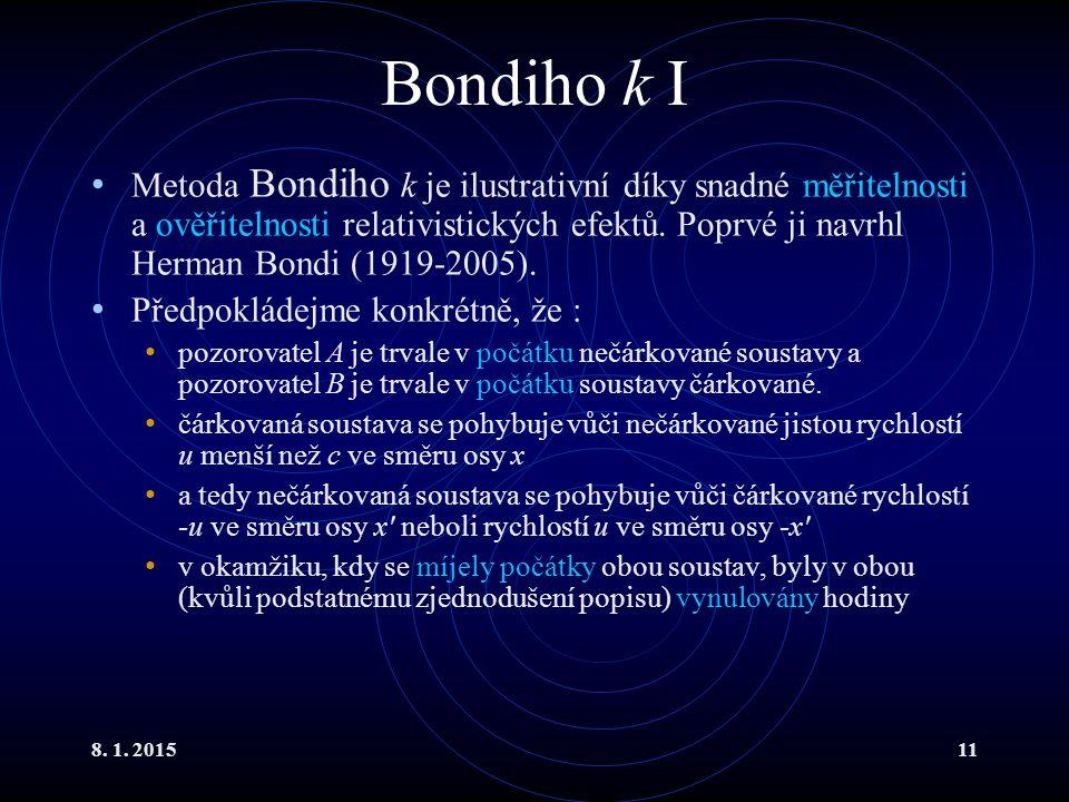 8. 1. 201511 Bondiho k I Metoda Bondiho k je ilustrativní díky snadné měřitelnosti a ověřitelnosti relativistických efektů. Poprvé ji navrhl Herman Bo