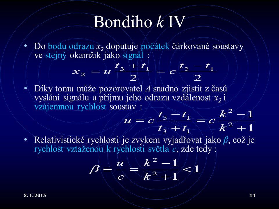 8. 1. 201514 Bondiho k IV Do bodu odrazu x 2 doputuje počátek čárkované soustavy ve stejný okamžik jako signál : Díky tomu může pozorovatel A snadno z