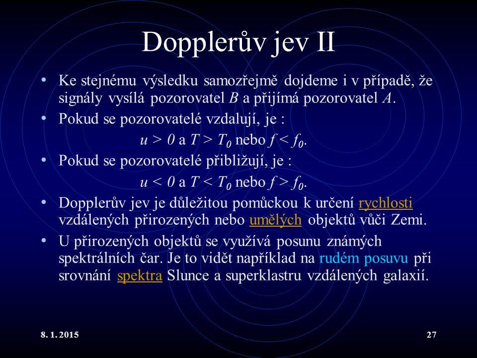 8. 1. 201527 Dopplerův jev II Ke stejnému výsledku samozřejmě dojdeme i v případě, že signály vysílá pozorovatel B a přijímá pozorovatel A. Pokud se p