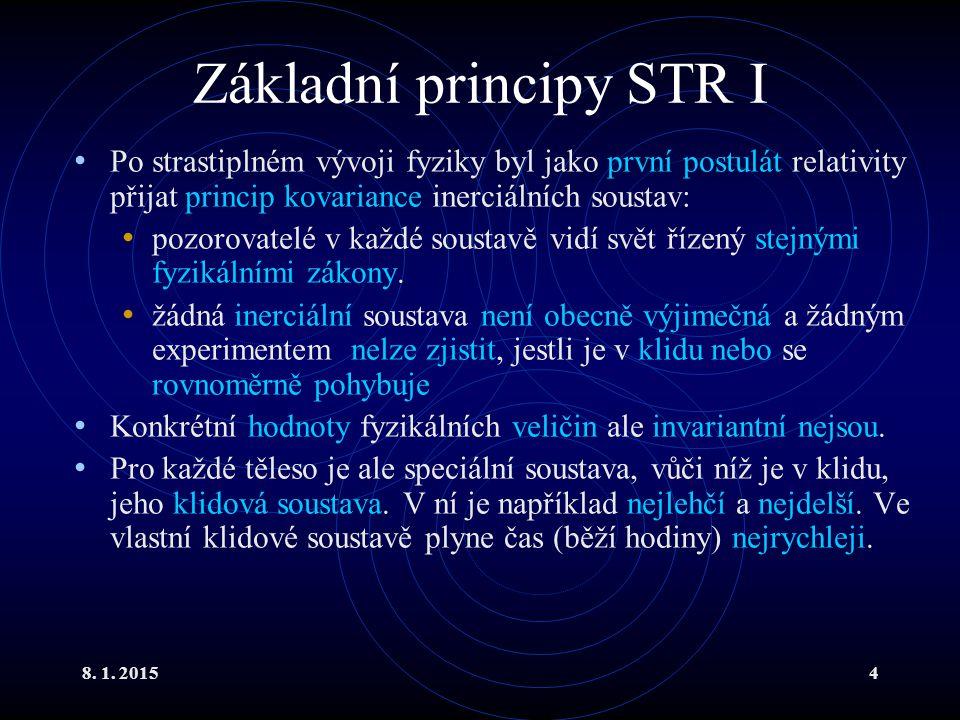 8. 1. 20154 Základní principy STR I Po strastiplném vývoji fyziky byl jako první postulát relativity přijat princip kovariance inerciálních soustav: p