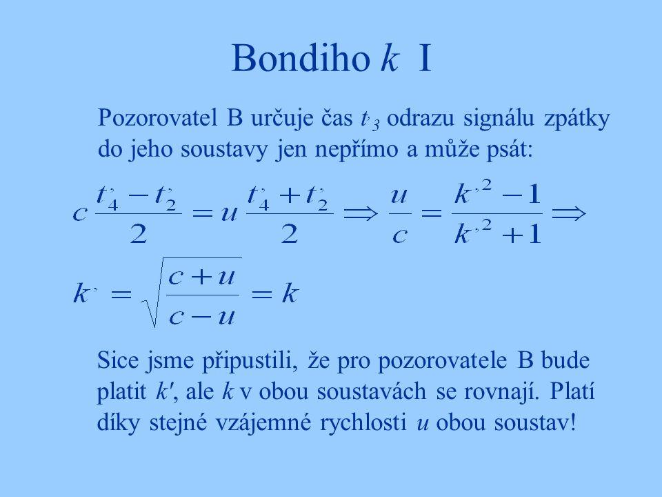 Bondiho k I Pozorovatel B určuje čas t, 3 odrazu signálu zpátky do jeho soustavy jen nepřímo a může psát: Sice jsme připustili, že pro pozorovatele B