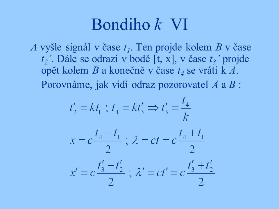 Bondiho k VI A vyšle signál v čase t 1. Ten projde kolem B v čase t 2 '. Dále se odrazí v bodě [t, x], v čase t 3 ' projde opět kolem B a konečně v ča