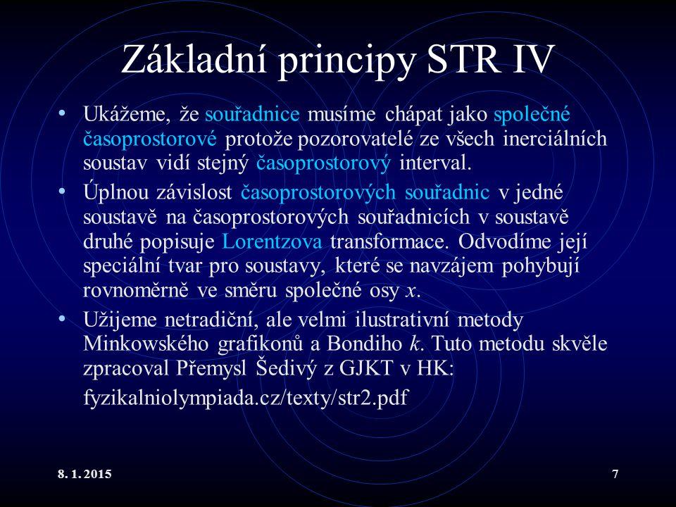 8. 1. 20157 Základní principy STR IV Ukážeme, že souřadnice musíme chápat jako společné časoprostorové protože pozorovatelé ze všech inerciálních sous