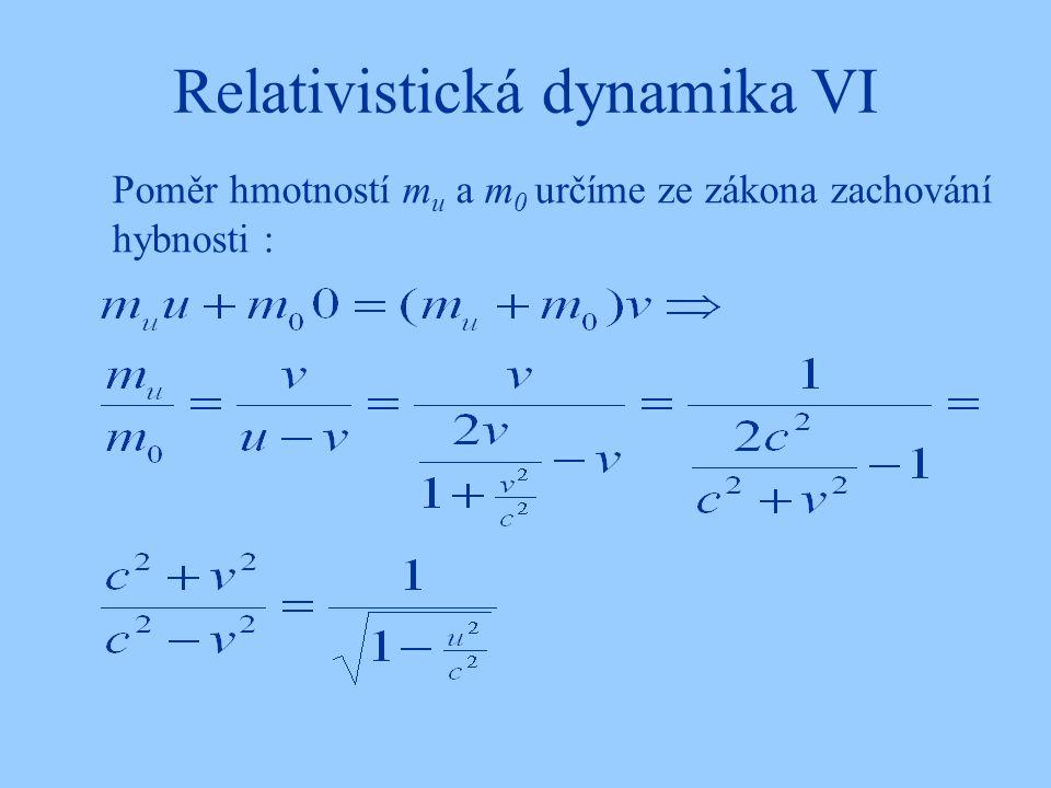 Relativistická dynamika VI Poměr hmotností m u a m 0 určíme ze zákona zachování hybnosti :
