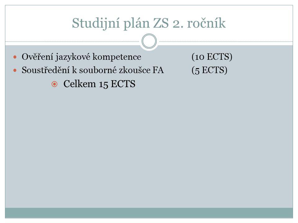 Studijní plán ZS 2. ročník Ověření jazykové kompetence (10 ECTS) Soustředění k souborné zkoušce FA(5 ECTS)  Celkem 15 ECTS