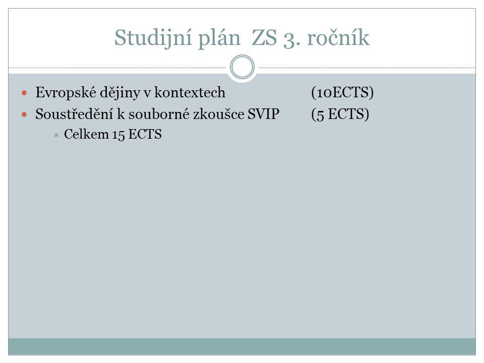 Studijní plán ZS 3. ročník Evropské dějiny v kontextech (10ECTS) Soustředění k souborné zkoušce SVIP(5 ECTS)  Celkem 15 ECTS