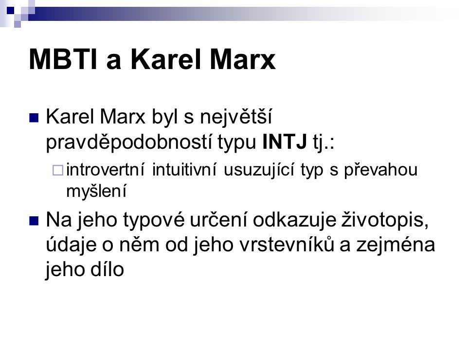 MBTI a Karel Marx Karel Marx byl s největší pravděpodobností typu INTJ tj.:  introvertní intuitivní usuzující typ s převahou myšlení Na jeho typové určení odkazuje životopis, údaje o něm od jeho vrstevníků a zejména jeho dílo