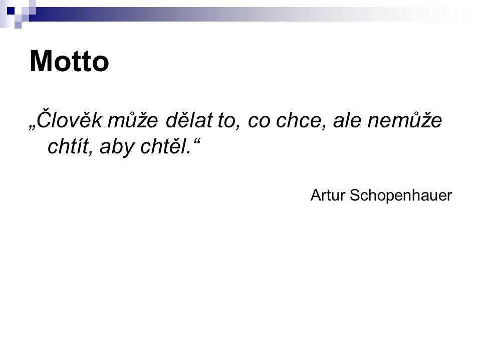 """Motto """"Člověk může dělat to, co chce, ale nemůže chtít, aby chtěl. Artur Schopenhauer"""