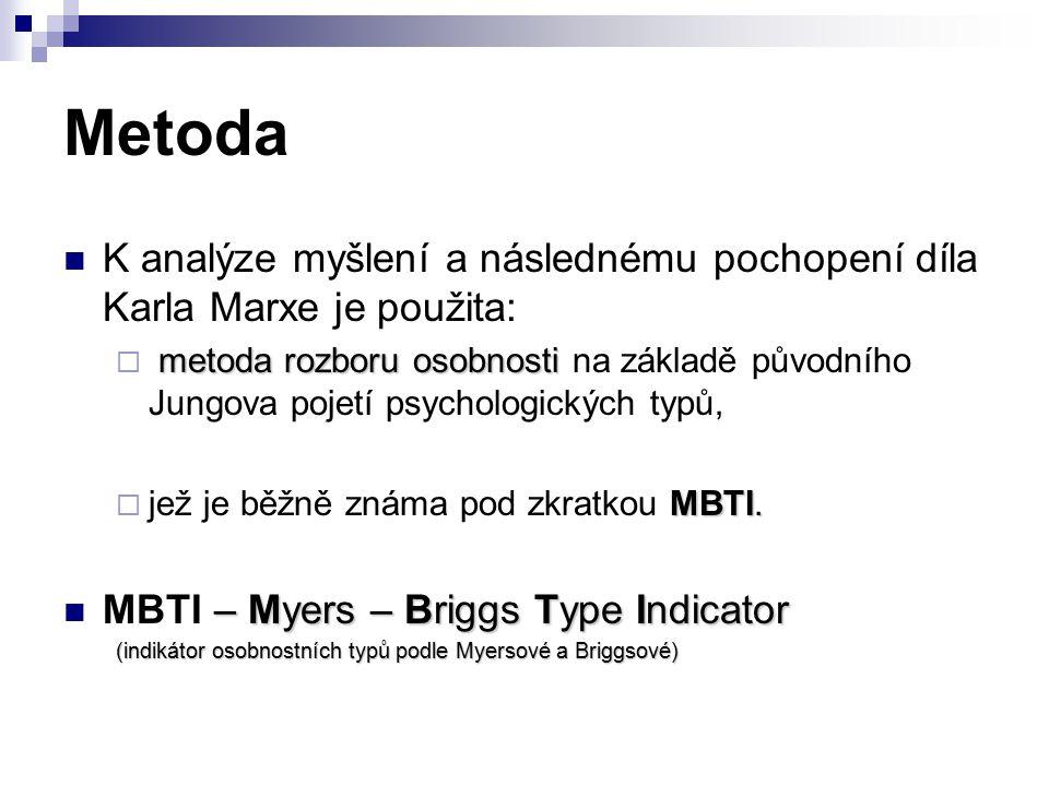 Metoda MBTI je ryze empirická metoda Typologie vychází z dichotomie:  myšlení a cítění  intuice a smyslů.