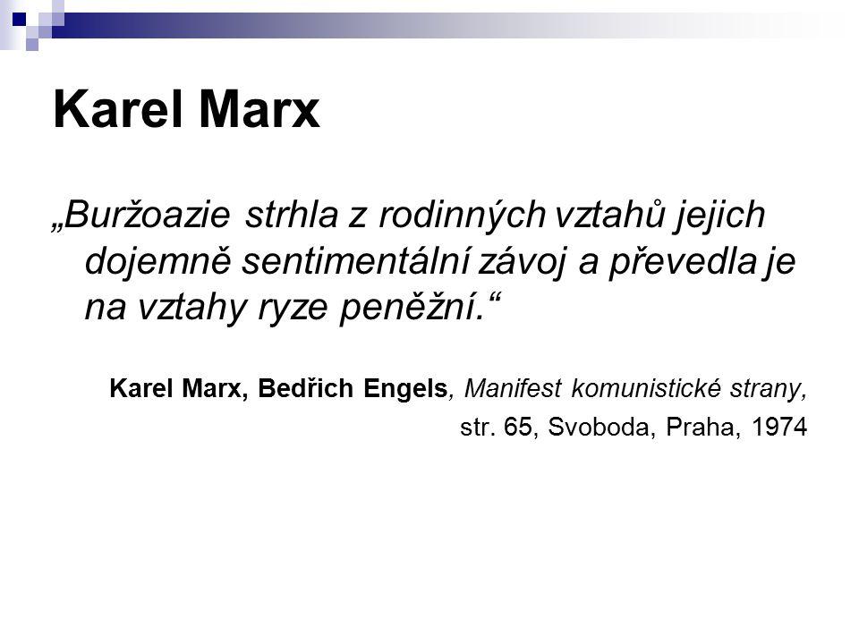 """Karel Marx """"Buržoazie strhla z rodinných vztahů jejich dojemně sentimentální závoj a převedla je na vztahy ryze peněžní. Karel Marx, Bedřich Engels, Manifest komunistické strany, str."""