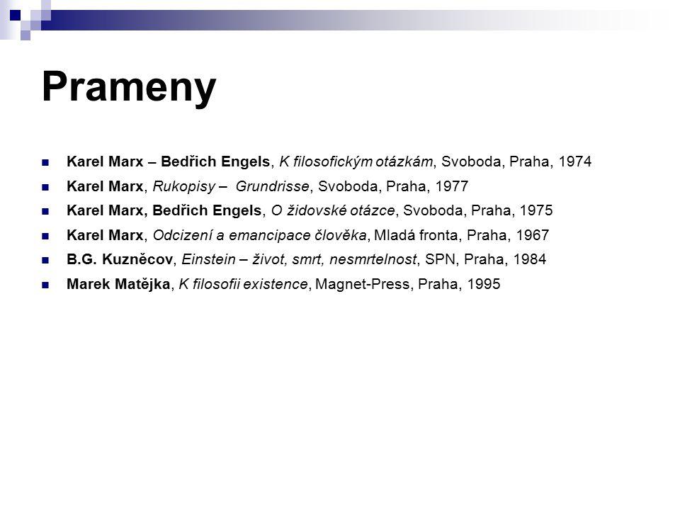 Prameny Karel Marx – Bedřich Engels, K filosofickým otázkám, Svoboda, Praha, 1974 Karel Marx, Rukopisy – Grundrisse, Svoboda, Praha, 1977 Karel Marx, Bedřich Engels, O židovské otázce, Svoboda, Praha, 1975 Karel Marx, Odcizení a emancipace člověka, Mladá fronta, Praha, 1967 B.G.