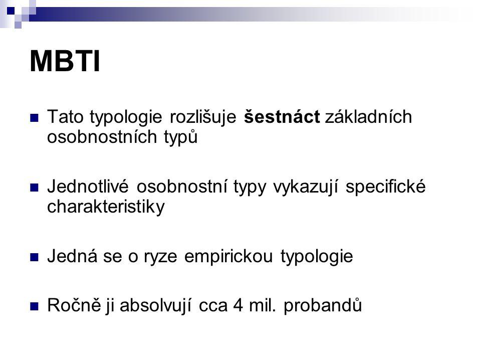 MBTI Tato typologie rozlišuje šestnáct základních osobnostních typů Jednotlivé osobnostní typy vykazují specifické charakteristiky Jedná se o ryze empirickou typologie Ročně ji absolvují cca 4 mil.