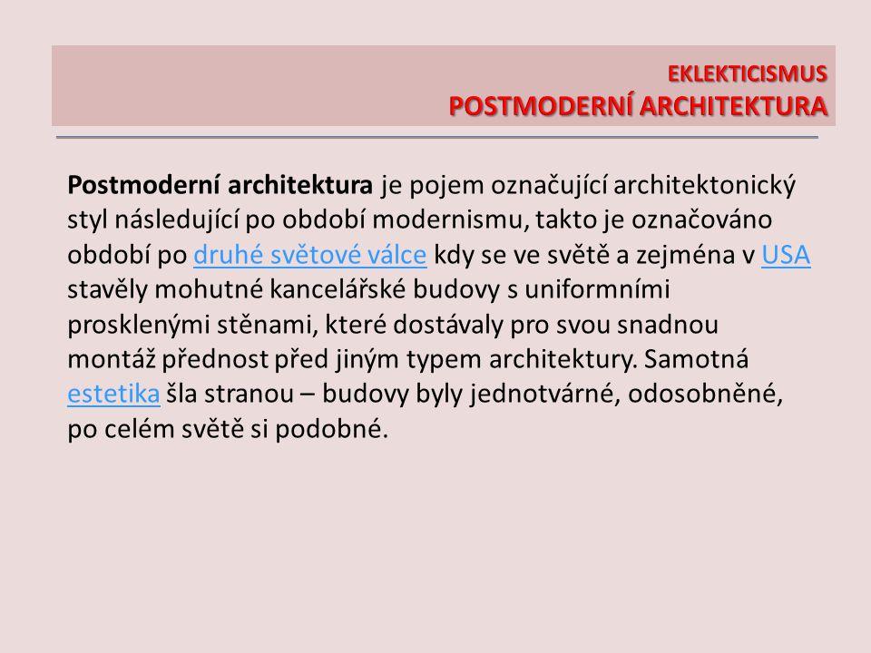 Postmoderní architektura je pojem označující architektonický styl následující po období modernismu, takto je označováno období po druhé světové válce