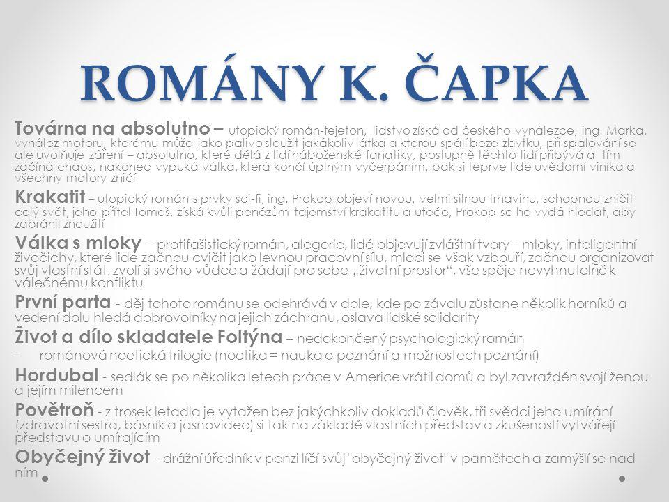 ROMÁNY K. ČAPKA Továrna na absolutno – utopický román-fejeton, lidstvo získá od českého vynálezce, ing. Marka, vynález motoru, kterému může jako paliv