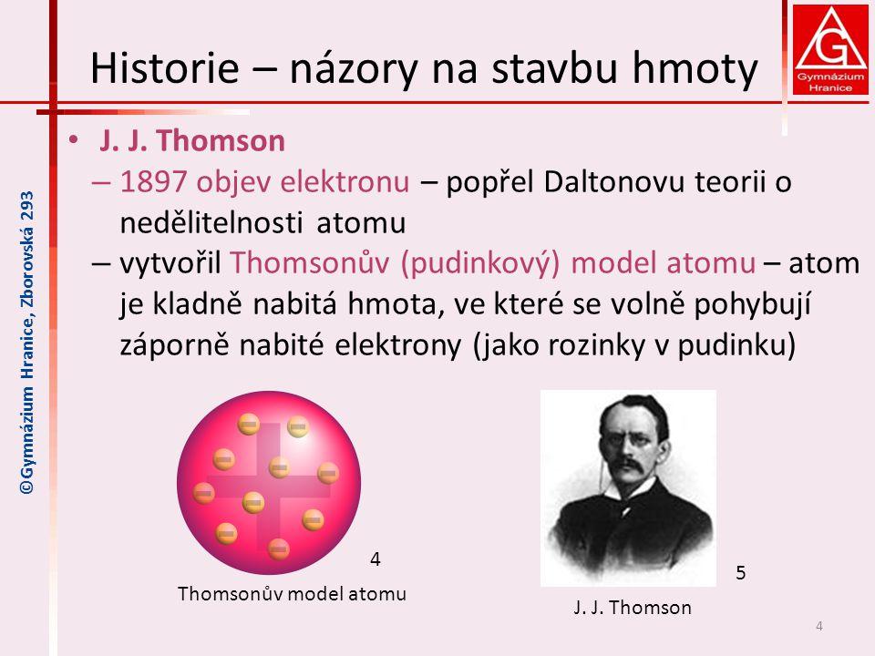Historie – názory na stavbu hmoty J. J. Thomson – 1897 objev elektronu – popřel Daltonovu teorii o nedělitelnosti atomu – vytvořil Thomsonův (pudinkov