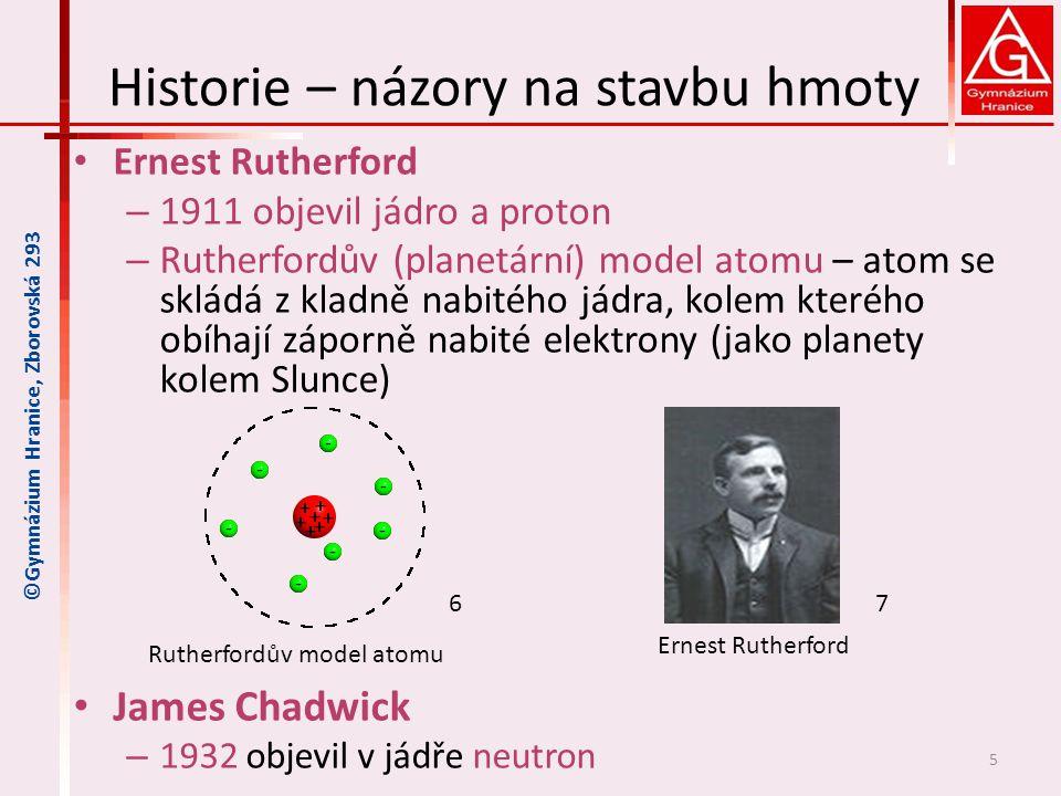 Historie – názory na stavbu hmoty Ernest Rutherford – 1911 objevil jádro a proton – Rutherfordův (planetární) model atomu – atom se skládá z kladně na