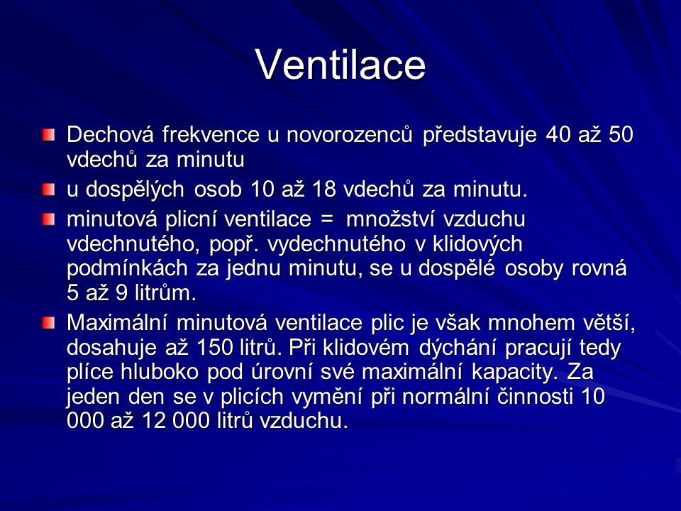 Ventilace Dechová frekvence u novorozenců představuje 40 až 50 vdechů za minutu u dospělých osob 10 až 18 vdechů za minutu. minutová plicní ventilace