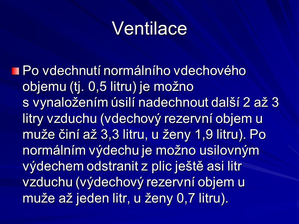 Ventilace Po vdechnutí normálního vdechového objemu (tj. 0,5 litru) je možno s vynaložením úsilí nadechnout další 2 až 3 litry vzduchu (vdechový rezer