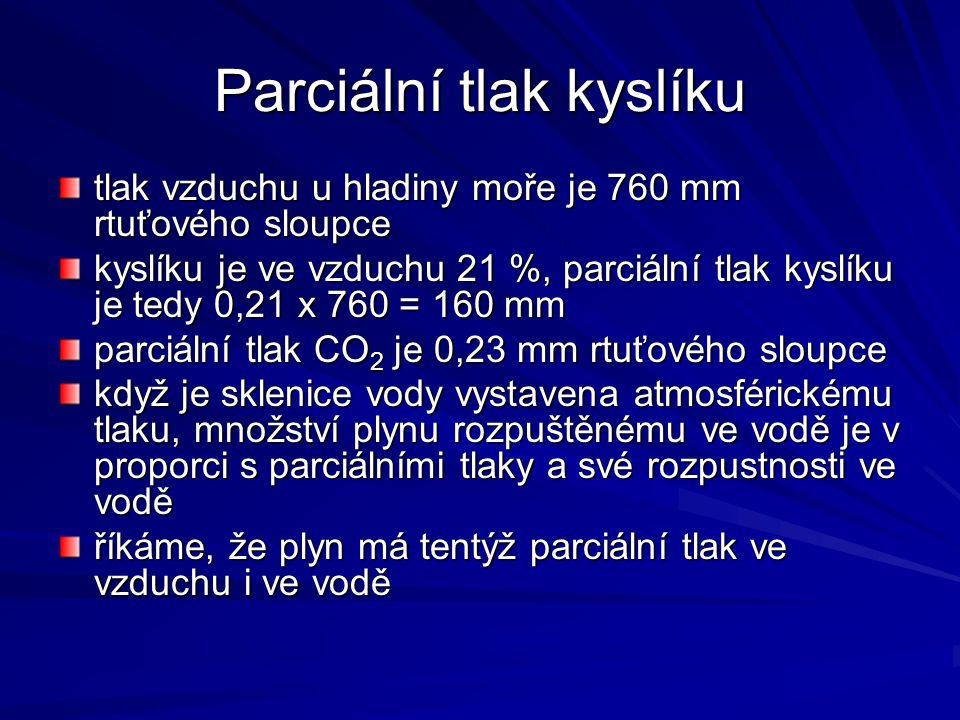 Parciální tlak kyslíku tlak vzduchu u hladiny moře je 760 mm rtuťového sloupce kyslíku je ve vzduchu 21 %, parciální tlak kyslíku je tedy 0,21 x 760 =