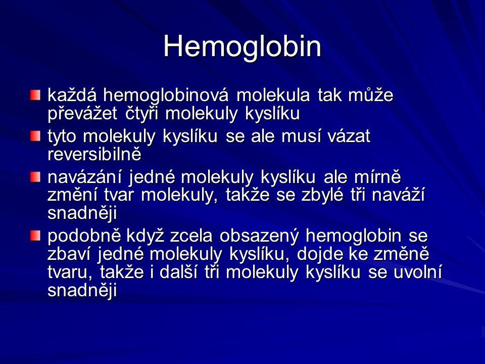 Hemoglobin každá hemoglobinová molekula tak může převážet čtyři molekuly kyslíku tyto molekuly kyslíku se ale musí vázat reversibilně navázání jedné m