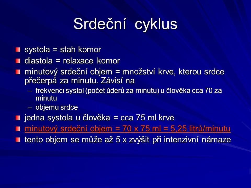 Srdeční cyklus systola = stah komor diastola = relaxace komor minutový srdeční objem = množství krve, kterou srdce přečerpá za minutu. Závisí na –frek