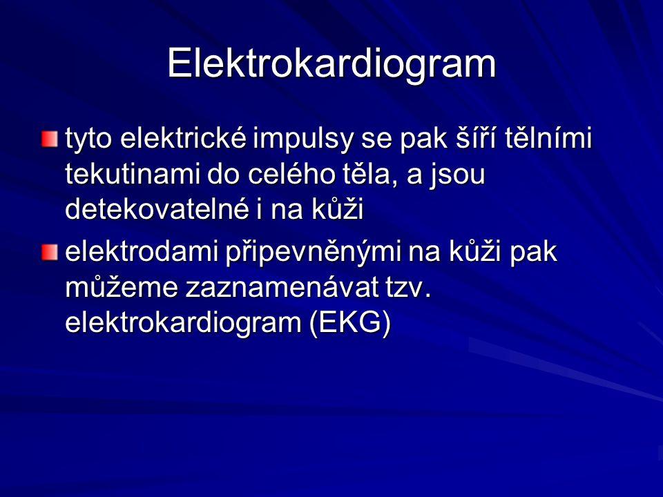 Elektrokardiogram tyto elektrické impulsy se pak šíří tělními tekutinami do celého těla, a jsou detekovatelné i na kůži elektrodami připevněnými na ků
