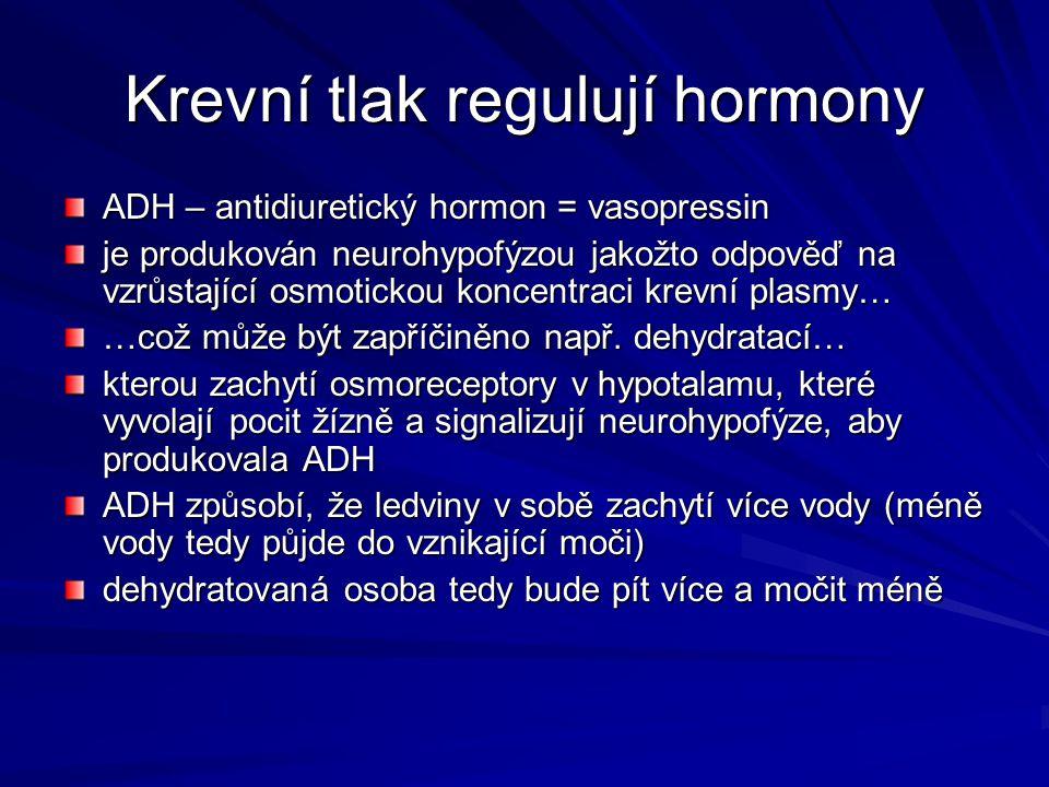 Krevní tlak regulují hormony ADH – antidiuretický hormon = vasopressin je produkován neurohypofýzou jakožto odpověď na vzrůstající osmotickou koncentr