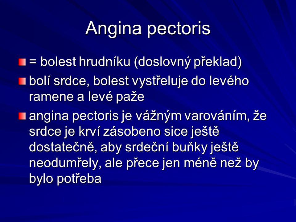 Angina pectoris = bolest hrudníku (doslovný překlad) bolí srdce, bolest vystřeluje do levého ramene a levé paže angina pectoris je vážným varováním, ž