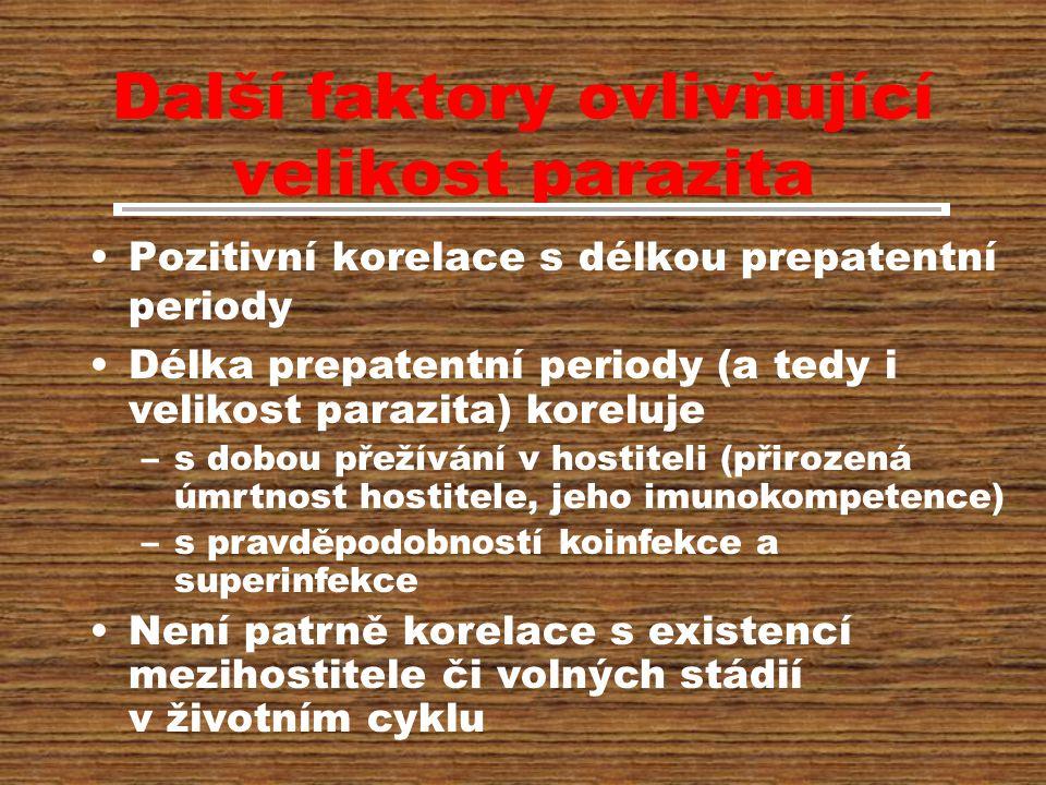 Další faktory ovlivňující velikost parazita Pozitivní korelace s délkou prepatentní periody Délka prepatentní periody (a tedy i velikost parazita) koreluje –s dobou přežívání v hostiteli (přirozená úmrtnost hostitele, jeho imunokompetence) –s pravděpodobností koinfekce a superinfekce Není patrně korelace s existencí mezihostitele či volných stádií v životním cyklu
