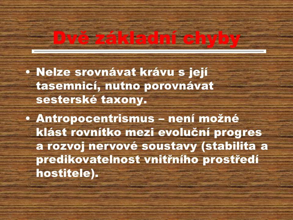 Dvě základní chyby Nelze srovnávat krávu s její tasemnicí, nutno porovnávat sesterské taxony.